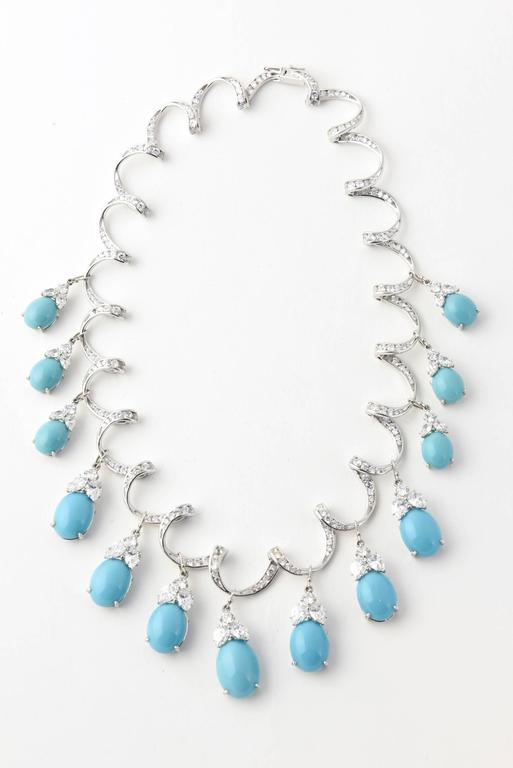 Red Carpet Glamorous Costume Diamond and Turquoise Garland Necklace 2