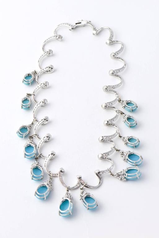 Red Carpet Glamorous Costume Diamond and Turquoise Garland Necklace 7
