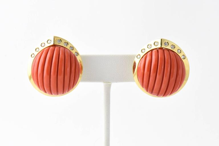 Women's Carved Coral and Diamond Gold Earrings For Sale