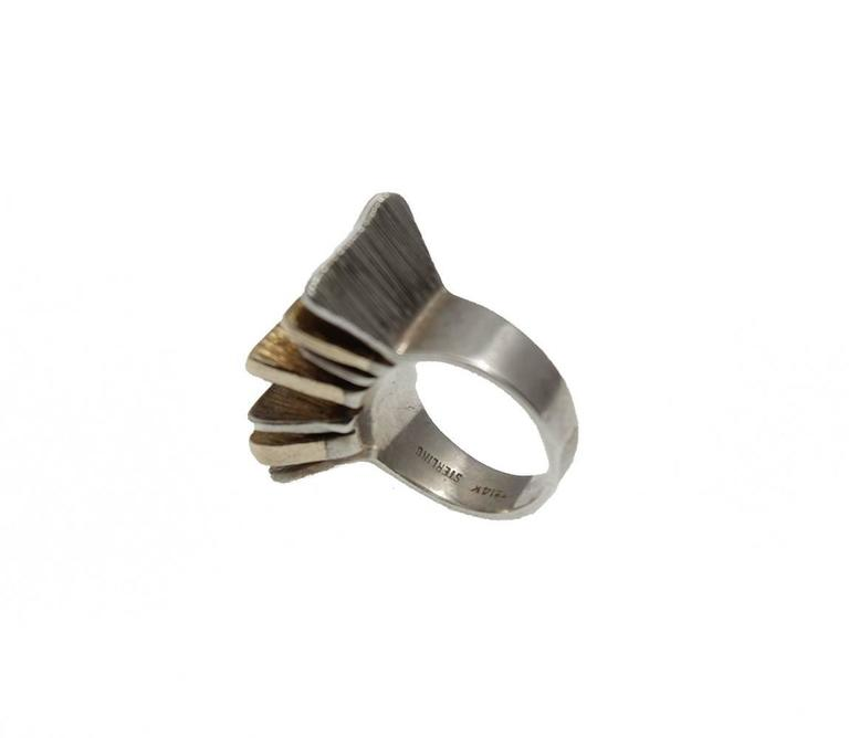 Women's or Men's Mid-Century Modern Silver and Gold Ring For Sale
