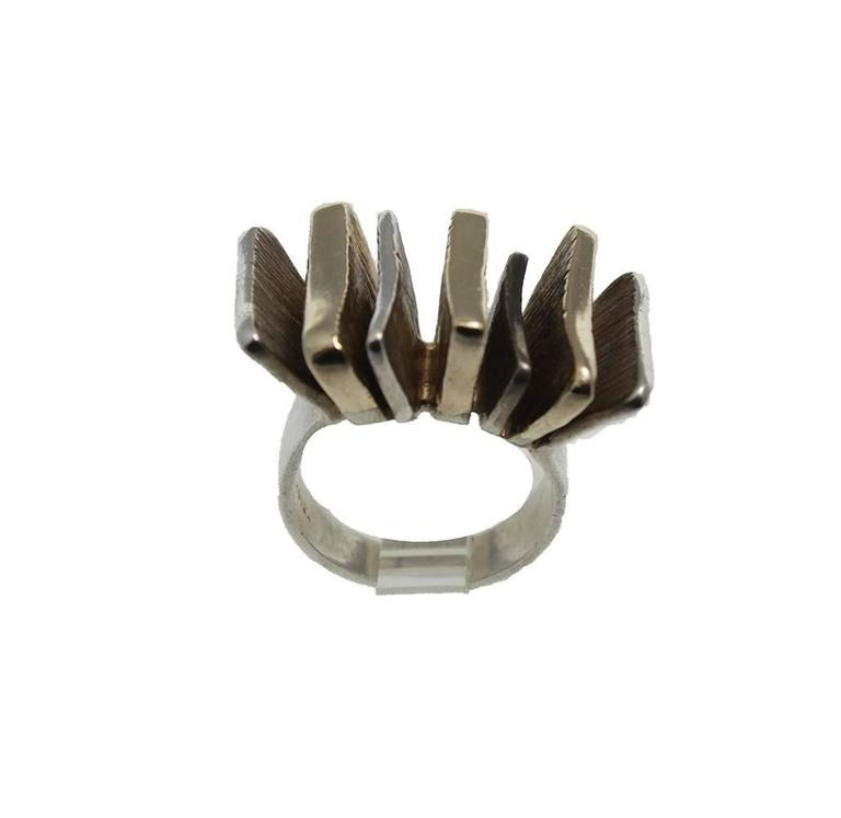 Mid-Century Modern Silver and Gold Ring In Good Condition For Sale In Miami Beach, FL