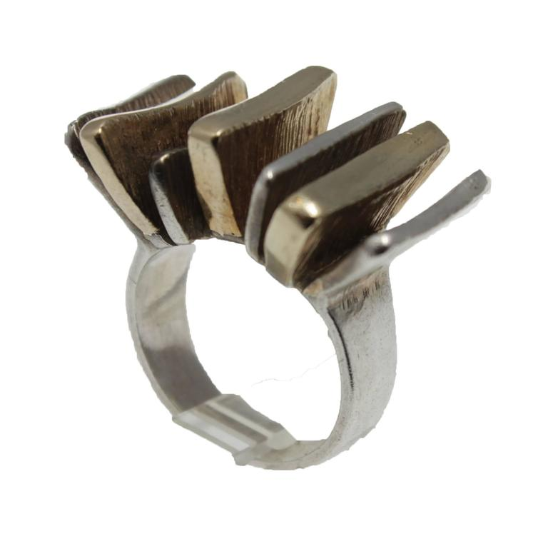 Mid-Century Modern Silver and Gold Ring For Sale 1