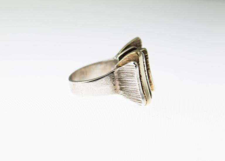 Mid-Century Modern Silver and Gold Ring For Sale 2