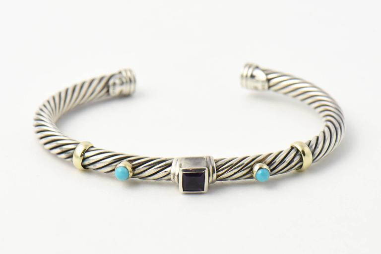 David Yurman Turquoise And Garnet Silver Renaissance Earrings Bracelet Set For 2