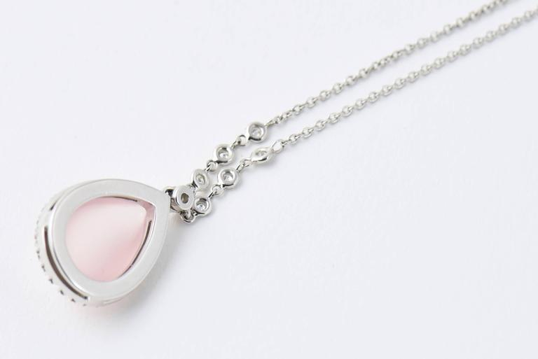 Favero Rose Quartz and Diamond Drop Gold Teardrop Necklace For Sale 1
