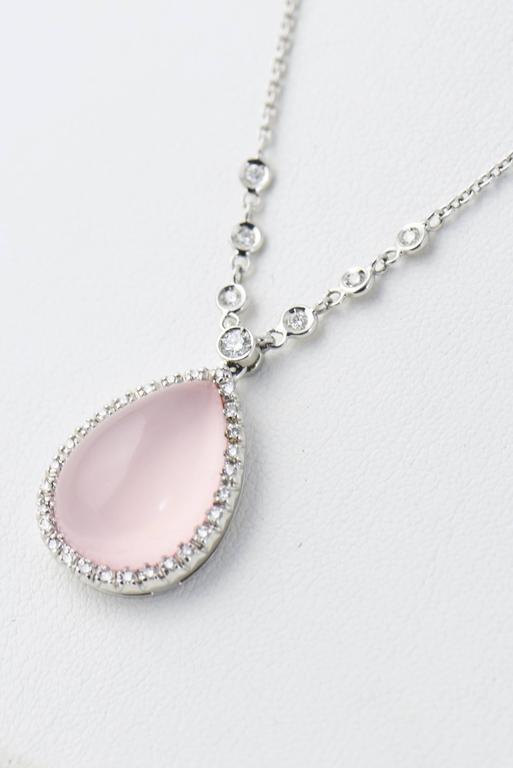Favero Rose Quartz and Diamond Drop Gold Teardrop Necklace For Sale 3