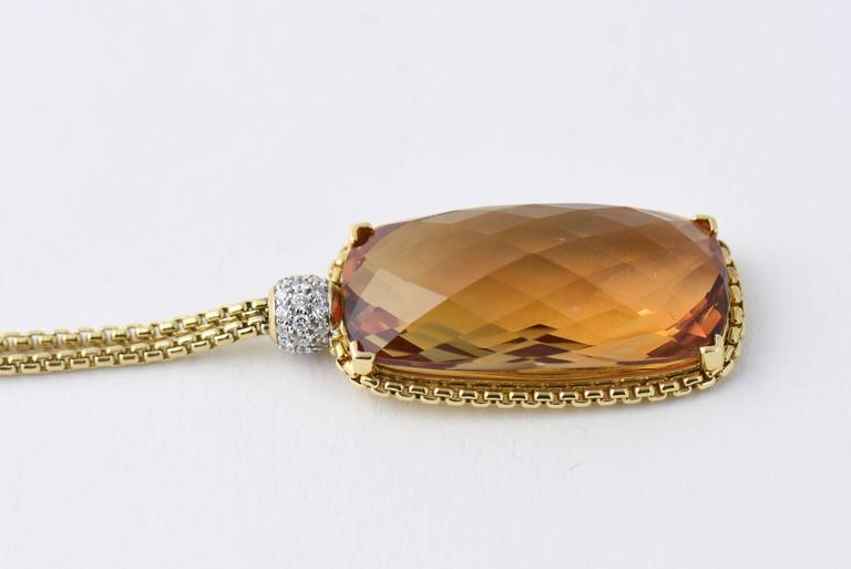 David Yurman Citrine Diamond Pendant Gold Necklace 2