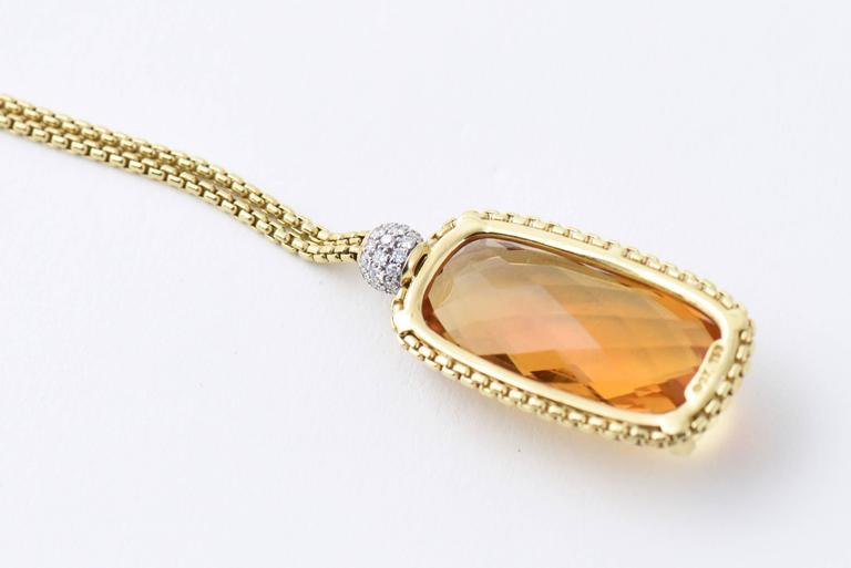 David Yurman Citrine Diamond Pendant Gold Necklace 4
