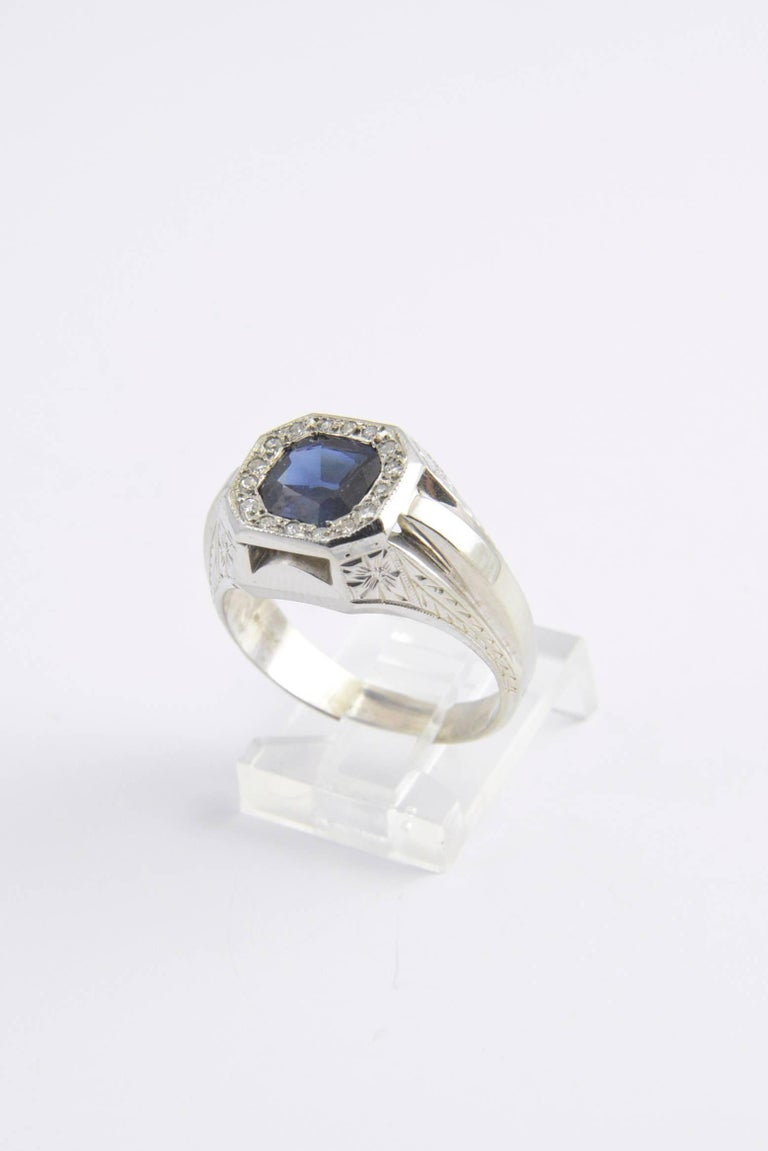 Sapphire and Diamond White Gold Ring 2