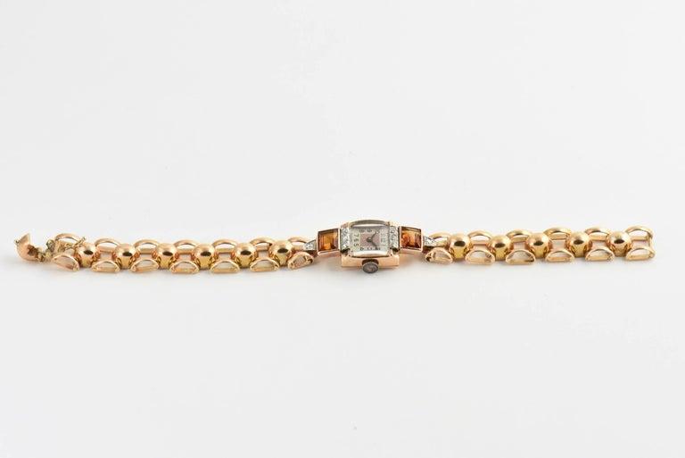 Round Cut Retro Ladies Rose Gold Diamond Citrine Wristwatch, Circa 1940s For Sale