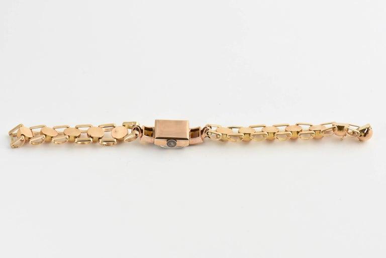 Retro Ladies Rose Gold Diamond Citrine Wristwatch, Circa 1940s In Good Condition For Sale In Miami Beach, FL