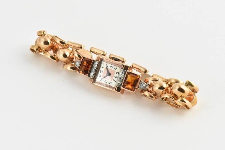 Retro Ladies Rose Gold Diamond Citrine Wristwatch, Circa 1940s For Sale 1