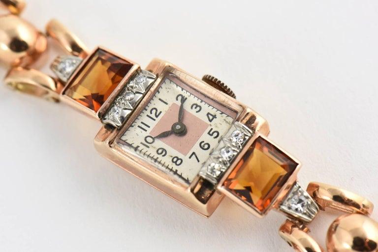 Retro Ladies Rose Gold Diamond Citrine Wristwatch, Circa 1940s For Sale 3