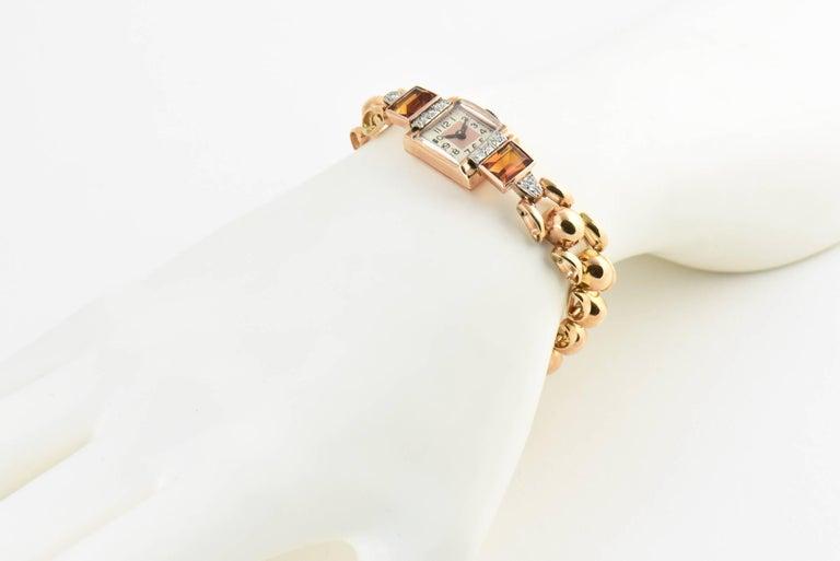 Retro Ladies Rose Gold Diamond Citrine Wristwatch, Circa 1940s For Sale 4