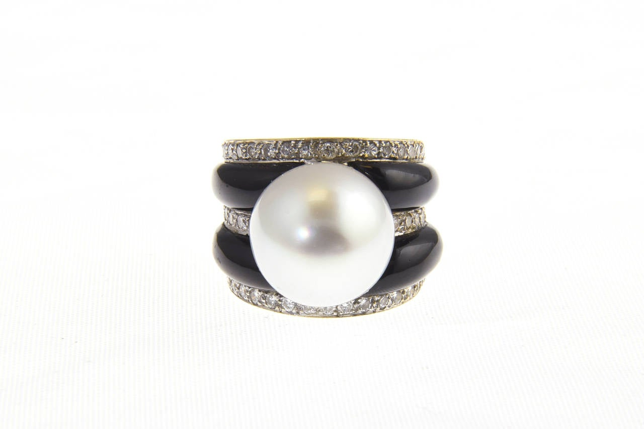 Women's 1970s Onyx  South Sea Pearl Diamond Gold Dome Ring For Sale