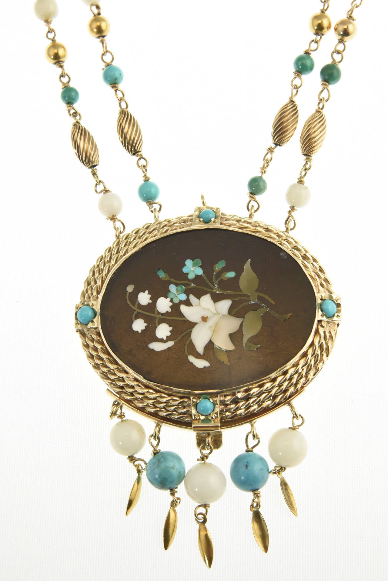 Cleopatra Inspired Turquoise and Gold Necklace with Victorian Pietra Dura Clasp 2