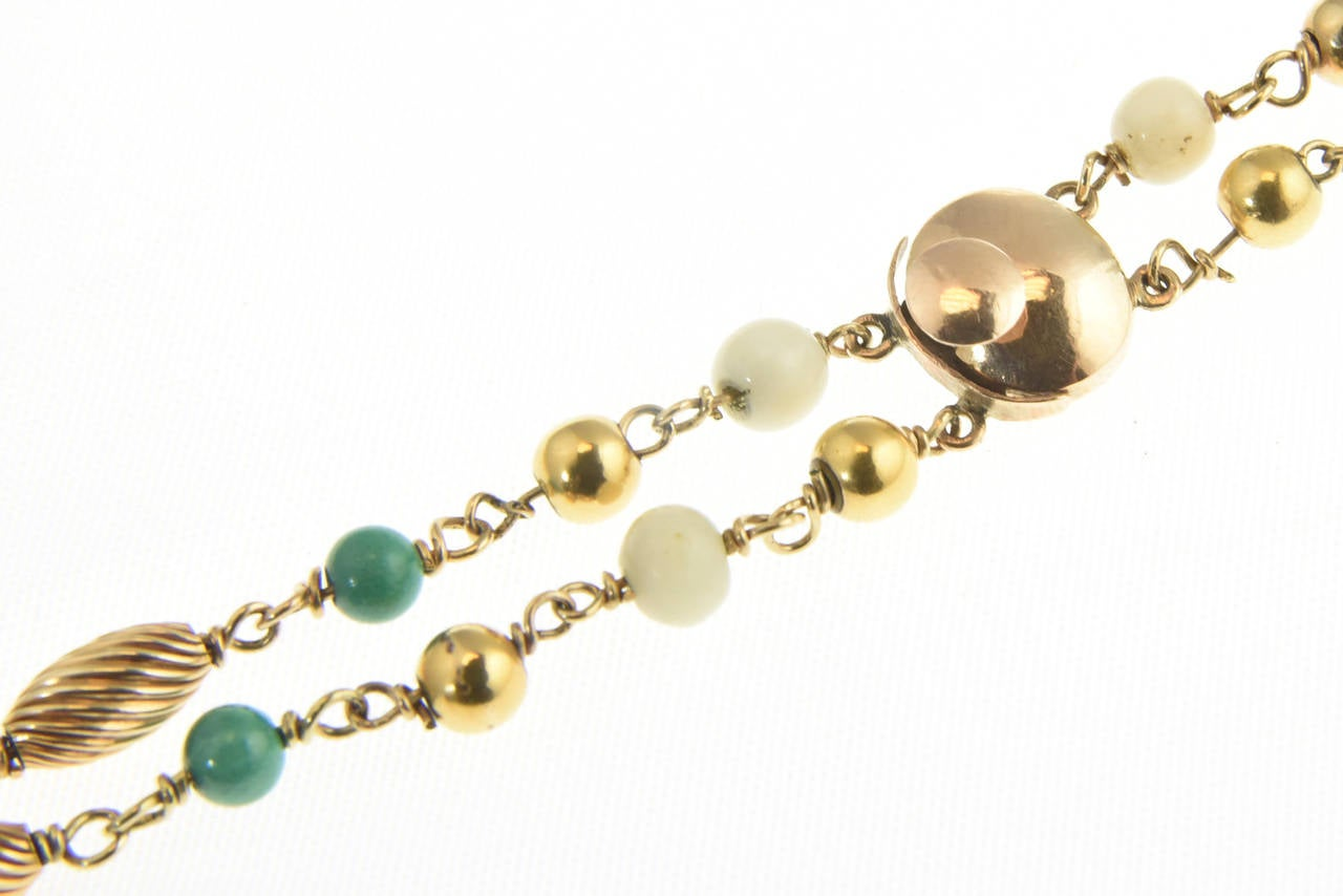 Cleopatra Inspired Turquoise and Gold Necklace with Victorian Pietra Dura Clasp 4