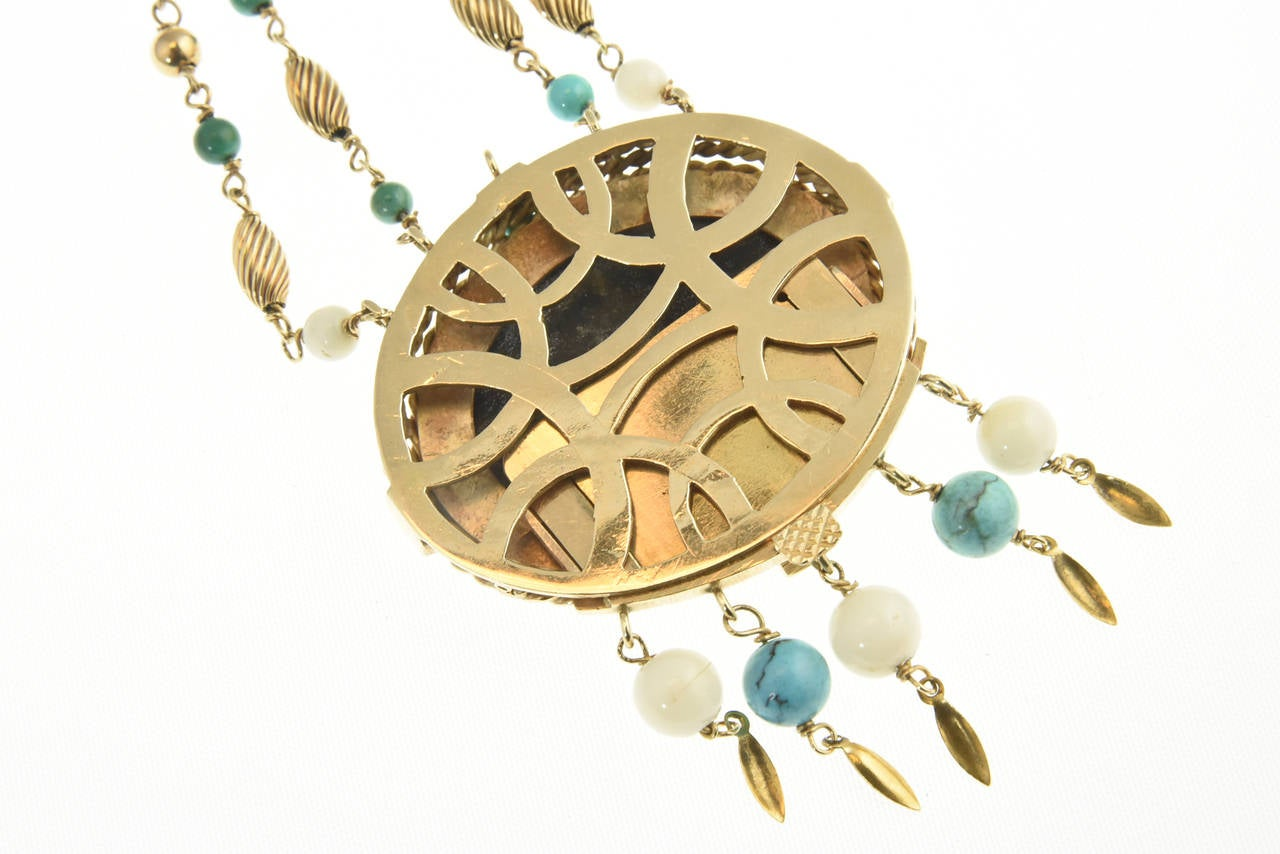 Cleopatra Inspired Turquoise and Gold Necklace with Victorian Pietra Dura Clasp 6