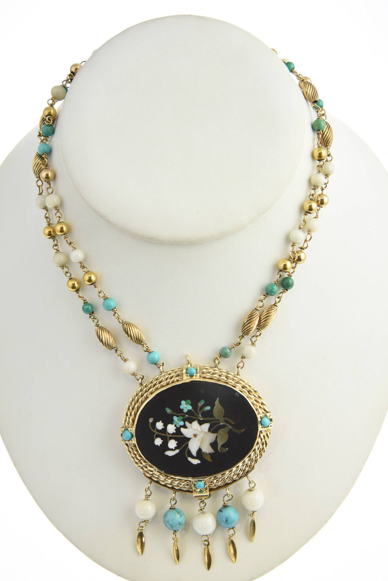 Cleopatra Inspired Turquoise and Gold Necklace with Victorian Pietra Dura Clasp 7