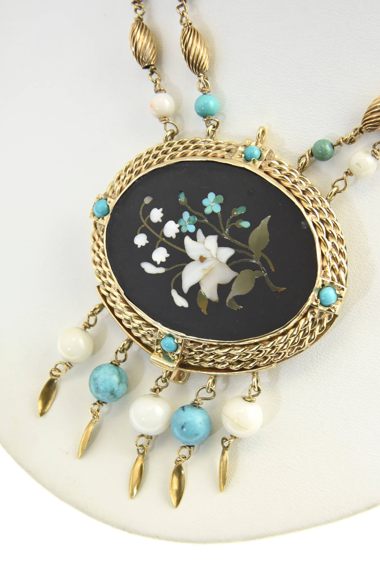 Cleopatra Inspired Turquoise and Gold Necklace with Victorian Pietra Dura Clasp 8