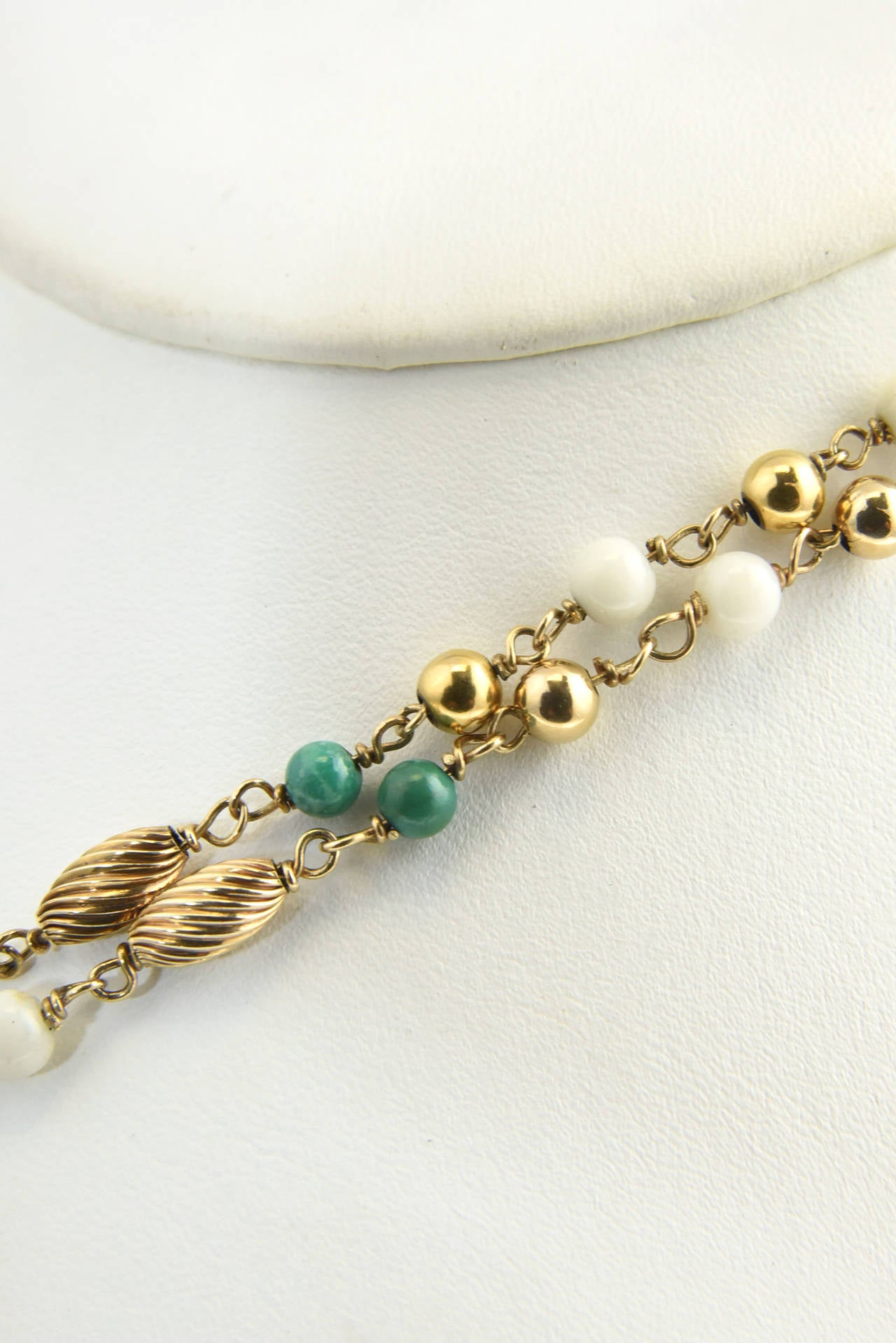 Cleopatra Inspired Turquoise and Gold Necklace with Victorian Pietra Dura Clasp 9