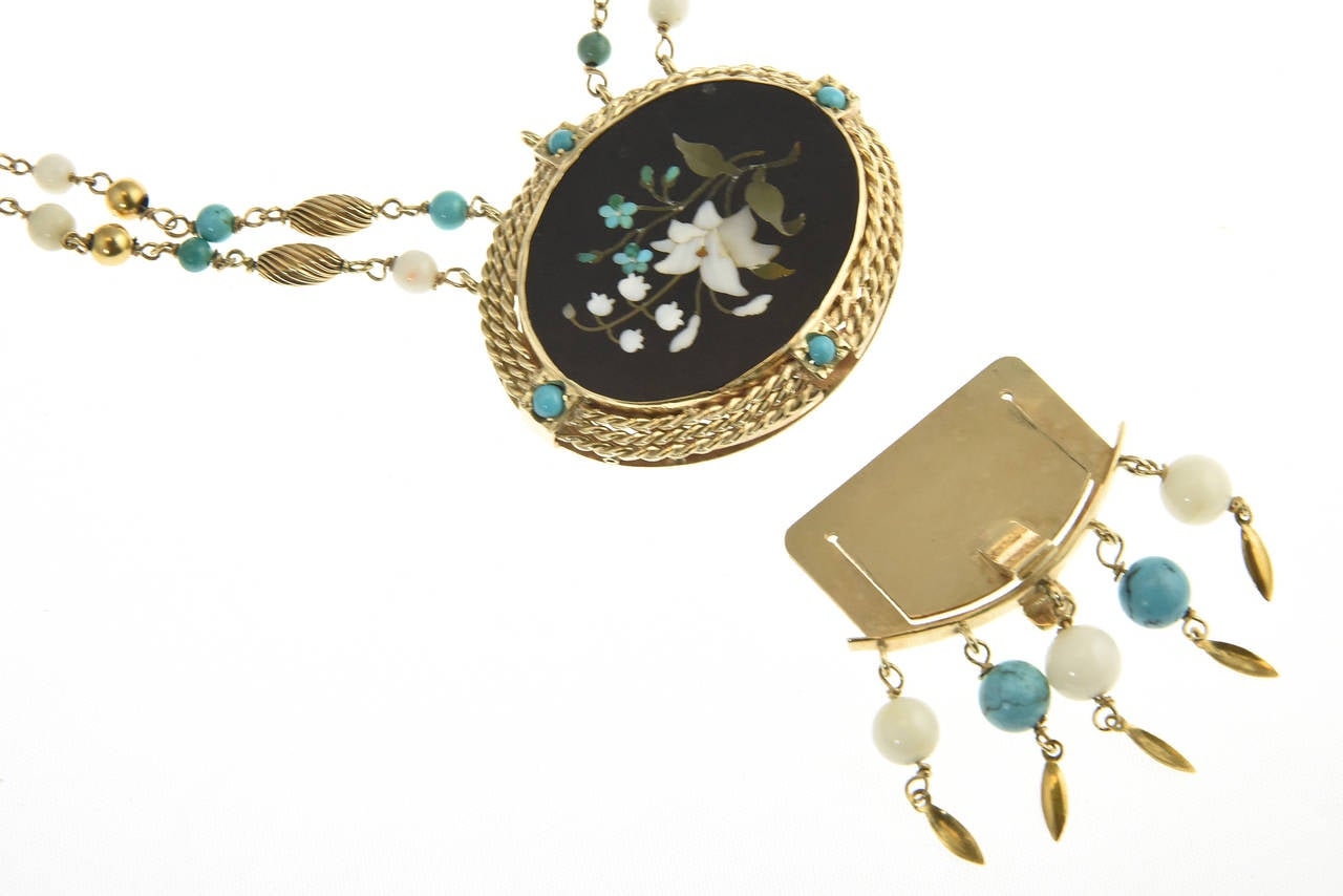 Cleopatra Inspired Turquoise and Gold Necklace with Victorian Pietra Dura Clasp 10