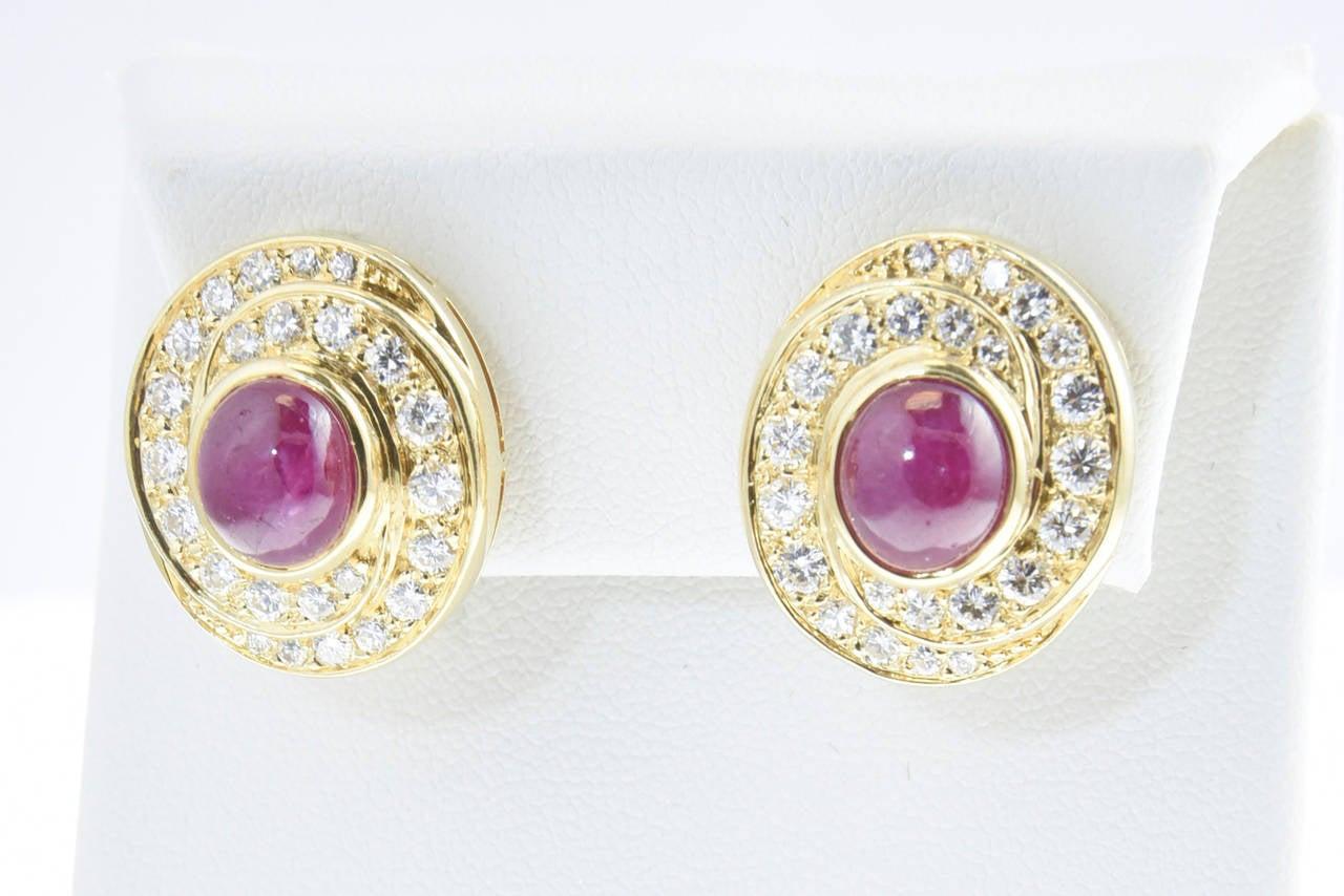 Burma Ruby and Diamond Swirl Gold  Earclips 2