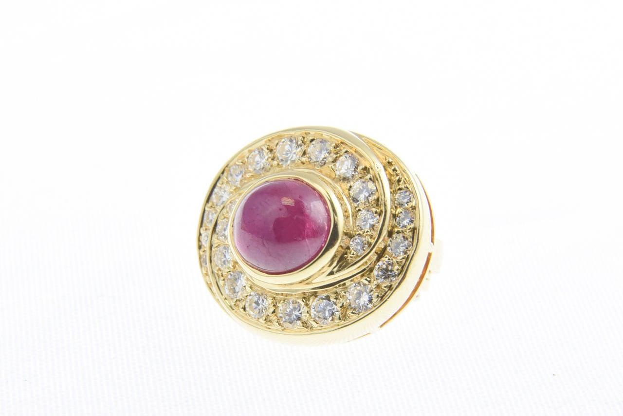 Burma Ruby and Diamond Swirl Gold  Earclips 3
