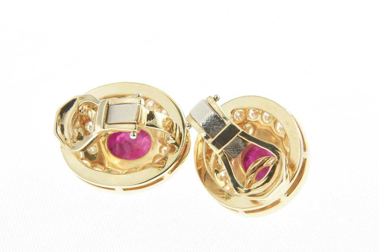 Burma Ruby and Diamond Swirl Gold  Earclips 4
