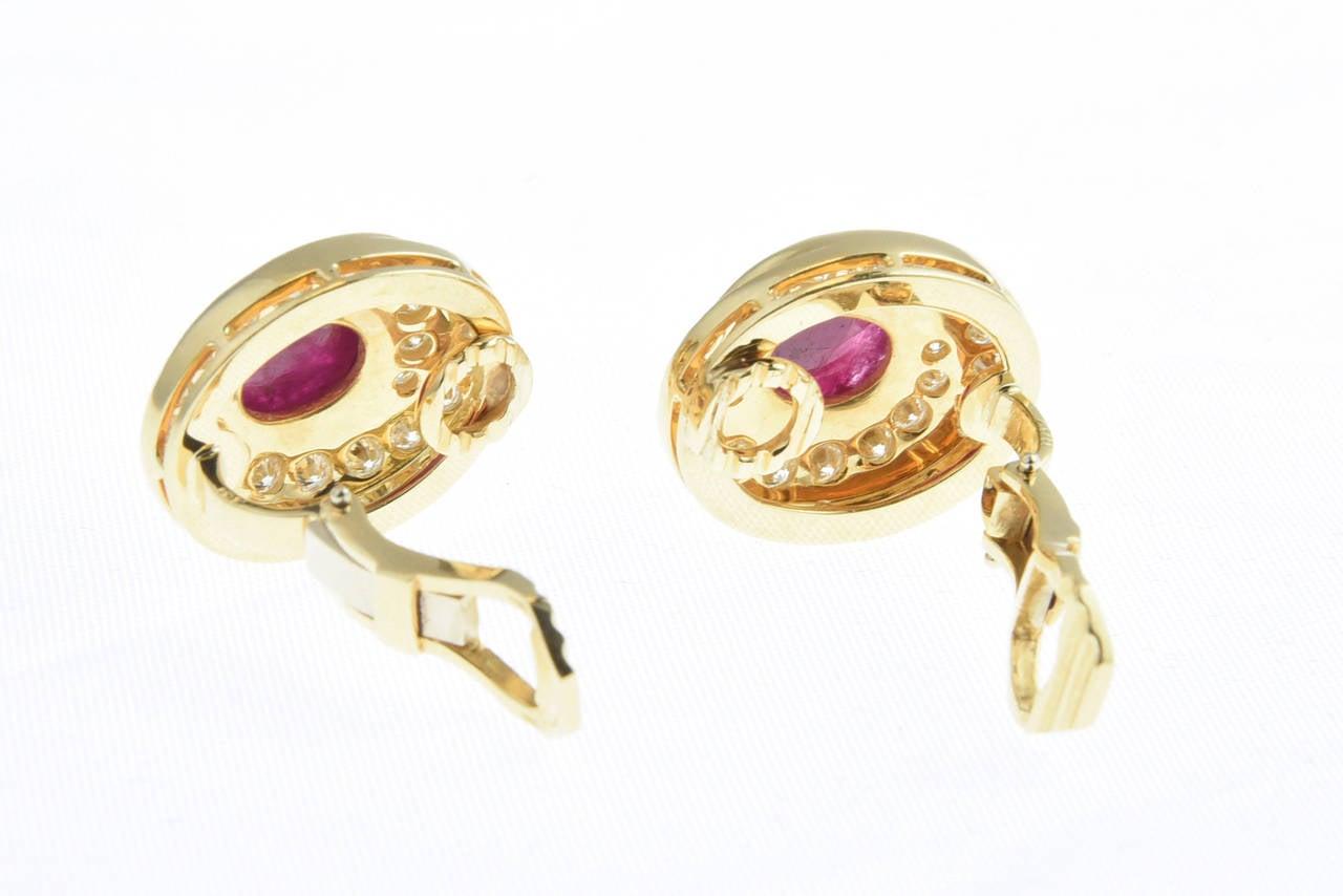 Burma Ruby and Diamond Swirl Gold  Earclips 5