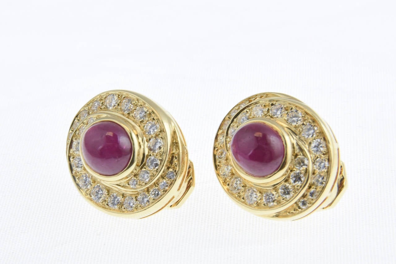 Burma Ruby and Diamond Swirl Gold  Earclips 6