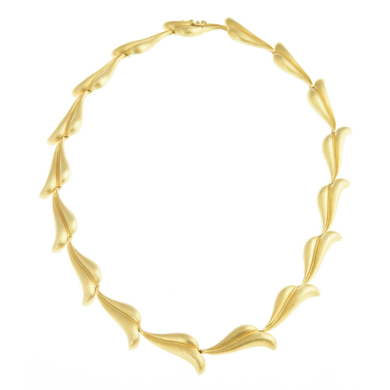 20th Century Gold Feather Leaf Necklace