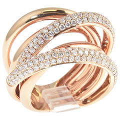 Three-Dimension Pave Diamond Gold Overlapping Band Ring