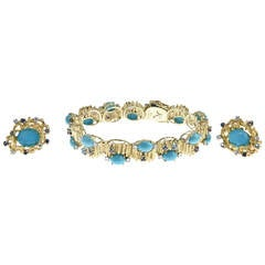 1960s Turquoise, Sapphire, Diamond and Topaz Gold Bracelet and Earrings