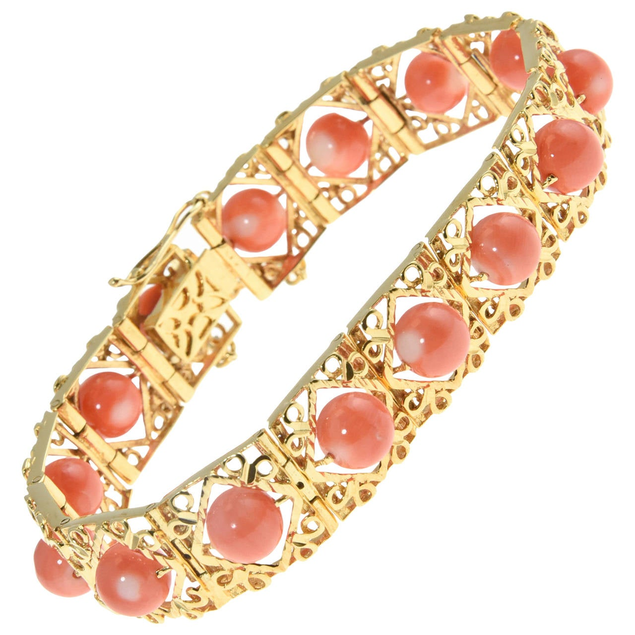 1970s Highly Stylized Coral Gold Link Bracelet