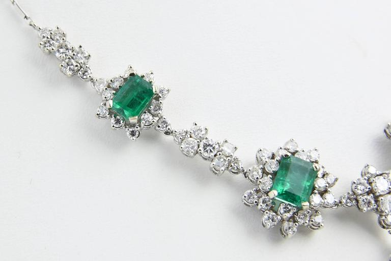 1950s Zambian Emerald, Diamond and Gold Necklace, Red Carpet Style For Sale 1