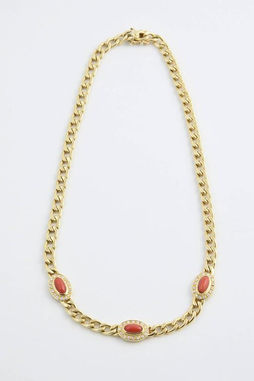 Late 20th Century UnoAErre Italian Red Coral Diamond Gold Chain Link Necklace 2