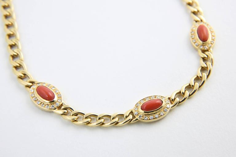 Late 20th Century UnoAErre Italian Red Coral Diamond Gold Chain Link Necklace 5