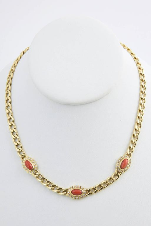Late 20th Century UnoAErre Italian Red Coral Diamond Gold Chain Link Necklace 6