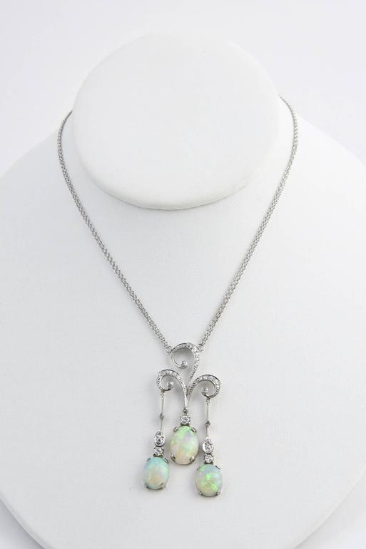 Early 20th Century Opal Diamond Gold Negligee Necklace For Sale 2