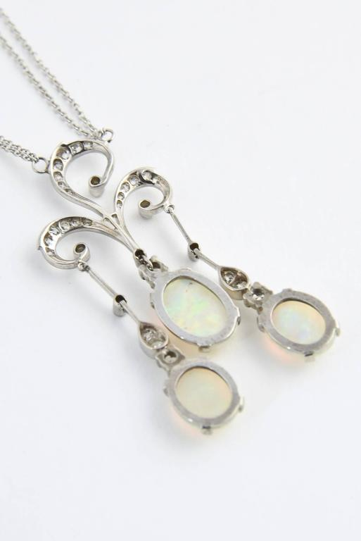 Early 20th Century Opal Diamond Gold Negligee Necklace For Sale 4