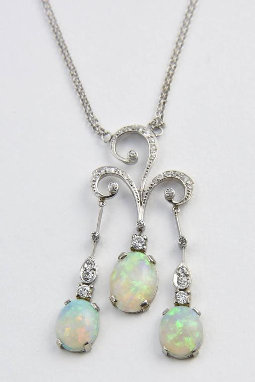 Early 20th Century Opal Diamond Gold Negligee Necklace For Sale 5