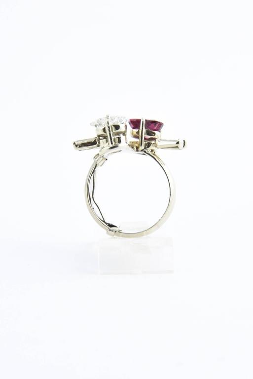 Toi et Moi Ruby Diamond Hearts Bypass White Gold Ring For Sale 2