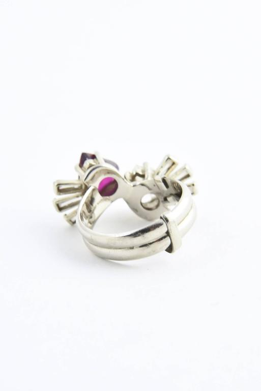 Toi et Moi Ruby Diamond Hearts Bypass White Gold Ring For Sale 3