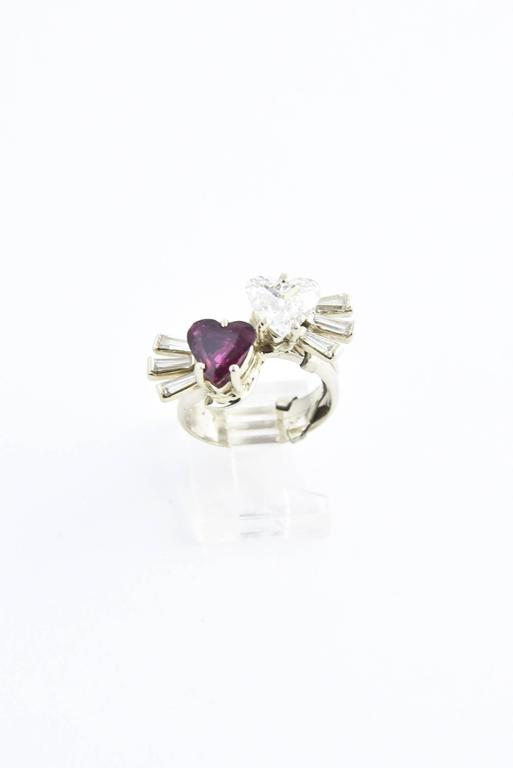 Toi et Moi Ruby Diamond Hearts Bypass White Gold Ring For Sale 4