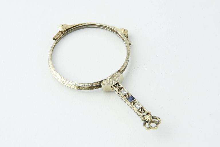 Finely Made Diamond & Sapphire Platinum Lorgnette Each eye area is 1.65 diameter