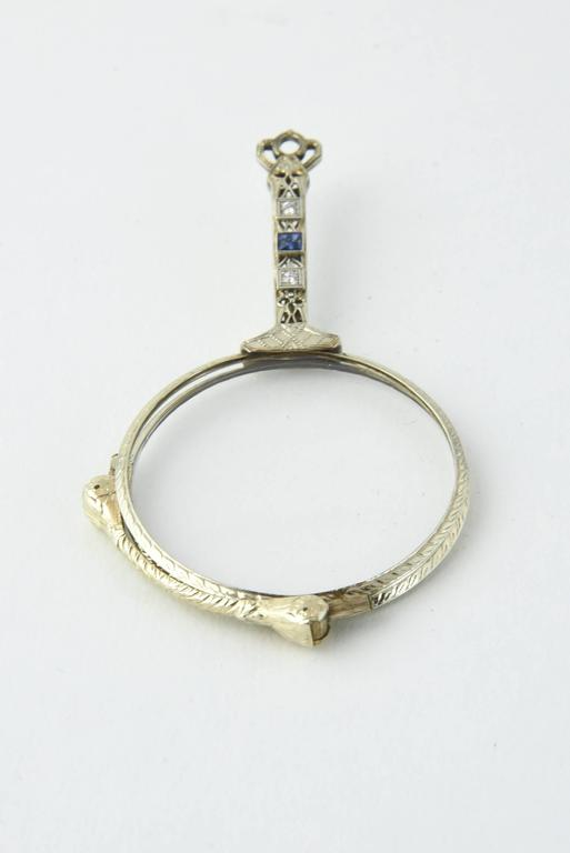 Edwardian Sapphire Diamond Filigree Platinum Lorgnette For Sale 2