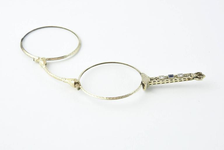 Edwardian Sapphire Diamond Filigree Platinum Lorgnette For Sale 4