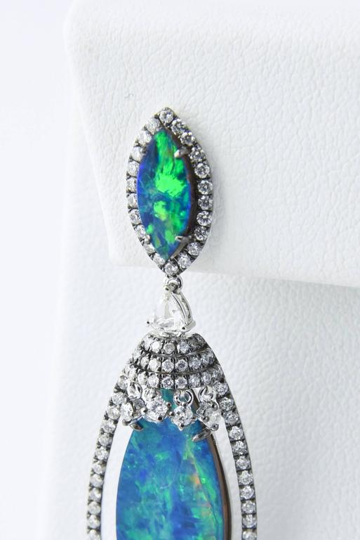 Opal Diamond Gold Drop Dangling Earrings For Sale 2