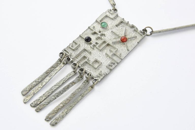 Brutalist Modernist Sterling Space Age Tassel Necklace For Sale At 1stdibs